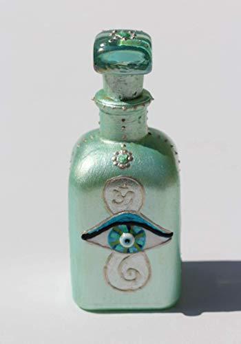 EYE OF HILARION Flacon Fläschchen Kleine Deko Elixier Flasche Auge Mint Grün Silber Glücksbringer Dekoration Handbemalt Mediterran Orientalisch