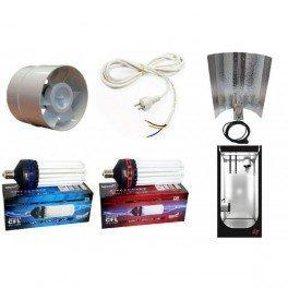 Box 80 x 80 x 160 - Ventilation - Flo et croissance 200 Watts