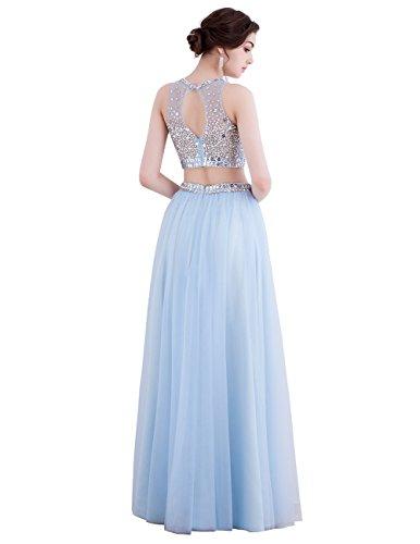 Dresstells Robe de soirée Robe de bal emperlée en tulle deux pièces longueur ras du sol Bleu Saphir