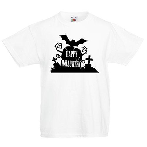 lepni.me Kinder T-Shirt Halloween Graveyard Outifts - Costume Ideas - Cool Horror Design (5-6 years Weiß - Für Kinder Halloween-monster-lieder