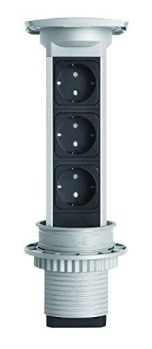 Kopp Versa Pull versen kbarer presa Torre, Multipresa da tavolo con estraibile da incasso in mobili o piani di lavoro, 3prese con contatto di terra, max. 3400W, IP20, 939614013, 3400W, in alluminio
