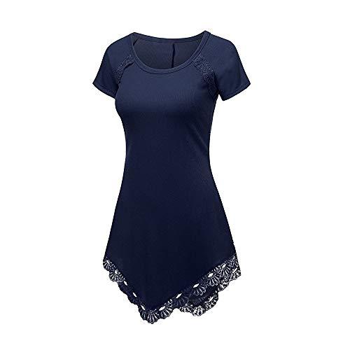 (CAOQAO Lange Version Von Mode Schlank GrößE Code Sommer Frauen Kurzarm T-Shirt Spitze Freizeithemd)