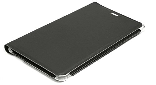BlueArmor Leather Flip Cover Case for Reliance Jio Lyf Wind 3 – Black & Mobile Stand