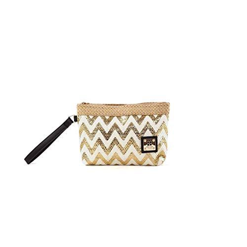 For Time Monedero Golden zig-Zag Nature, Bolsa de Tela y de Playa para Mujer, Dorado (Oro), 1 x 15 x...