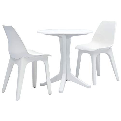 Festnight 3-TLG. Bistro-Set | Kunststoff Balkon-Set | Plastik Terassen Set | Balkongarnitur | Gartenmöbel Set | Weiß Kunststoff 70 x 72/45 x 49,5 x 81 cm