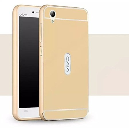 Vivo Y51 / Y51L Luxury Metal Bumper + Acrylic Mirror Back Cover Case For Vivo Y51 / Y51L By Vinnx - Golden
