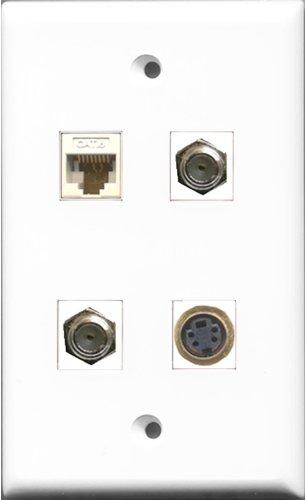 RiteAV-2Port Koax-Kabel, Accessoires F und 1Port S-Video und 1Port Cat6Ethernet weiß Wall Plate -