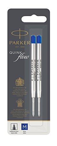 Parker Quinkflow Ball Pen Refill Medium Nib Blue, Pack of 2