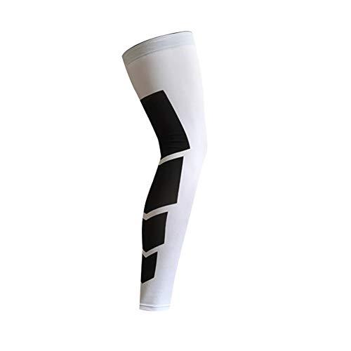 KEYkey Komprimiert Knieschützer Stretch Langarm Sport Fußlose Calf Compression Socken-Bein-Klammer-Schutz für Basketball Volleyball Fußball und All Kontakt Sport Weiß M 1PC (Weiße Knie-pads-volleyball)
