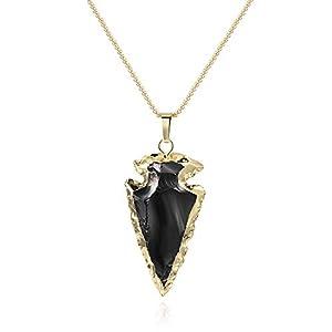 COAI Collar de Acero Inoxidable con Colgante Punta de Flecha de Obsidiana y Labradorita 10