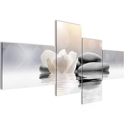 Bilder Blumen Tulpen Wandbild 200 x 100 cm Vlies - Leinwand Bild XXL Format Wandbilder Wohnzimmer Wohnung Deko Kunstdrucke Weiß 4 Teilig - Made IN Germany - Fertig zum Aufhängen 506041a