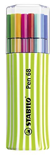 Pennarello premium - stabilo pen 68 pack da 1 verde - astuccio con 15 colori assortiti