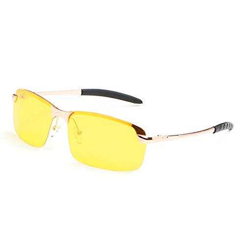 VRTUR Nachtsichtbrille Anti-Glanz Fahren Brillen Kontrast-Brille Nachtfahrbrille polarisierte Sonnenbrille(One size,Gold)