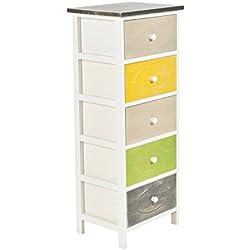 """ts-ideen Cómoda estilo """"casa rural"""" 95,5 cm estanteria con look shabby almacenamiento colorida madera sala de estar dormitorio pasillo u oficina"""
