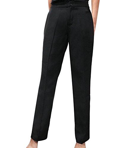 SK Studio Damen Business Anzugehosen Slim Fit Blazer Reverskragen Karriere Hosen Anzug Set Schwarz 38 Tag 2XL (Bein Hose Nadelstreifen Weites)