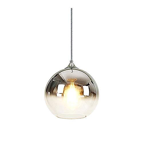 Glas Anhänger Beleuchtung Farbverlauf Lampenschirm bunte Glaskugel Licht Schatten E27 Pendelleuchte (Champagner Gold)@Silber -
