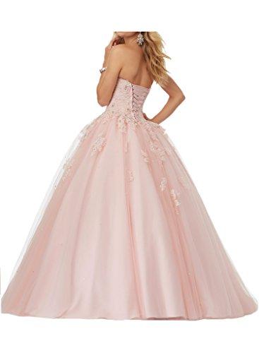 La_Marie Braut Rosa Hochwertig Aermelos Abendkleider Abschlussballkleider Promkleider Lang Prinzess Rock Rosa