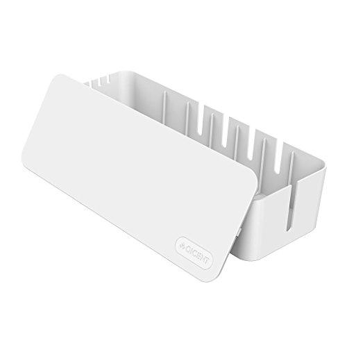 QICENT Kabel Management Storage Box Organizer Großen Container Draht Schnur Abdeckung für Steckerleisten , Überspannungsschutz , TV Computer, Kabel, USB Hub, mit 2 Kabelbindern Weiß - (15.3