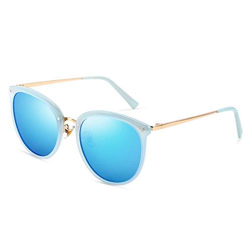 LQQAZY Sonnenbrille Frauen Leichtgewicht Weinlese Bunter Film Gezeiten Fahrer Sonnenbrille Treibende Gläser Polarisierte Gläser,Blue