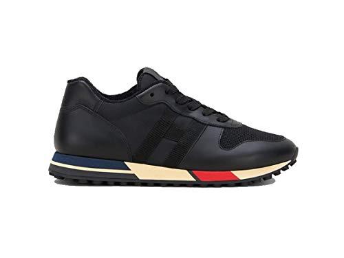 HOGAN UOMO Scarpe Sneakers Running Nero Nuove in Pelle Lacci 10, Nero