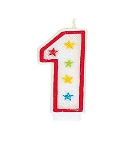 Número 1 brillo cumpleaños Vela y decoración de la torta del feliz cumpleaños