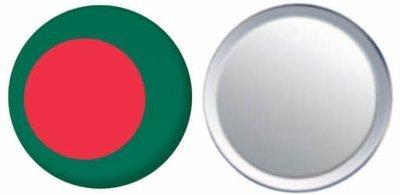 Miroir insigne de bouton Bangladesh drapeau - 58mm