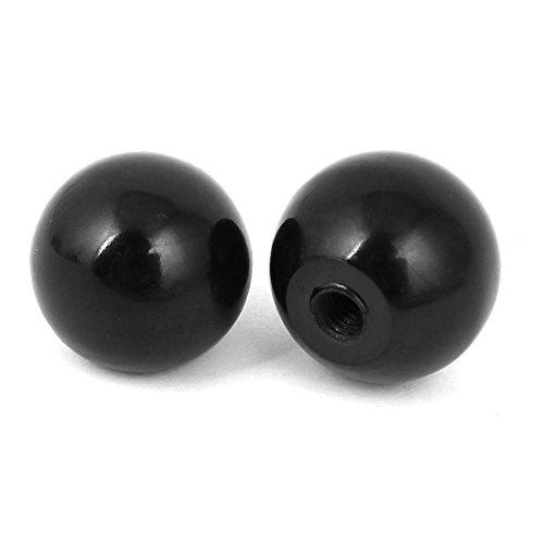 2 Stück Drehmaschine Kunststoff-runde Kugel-Knopf Schwarz 25mm x 5mm Griff