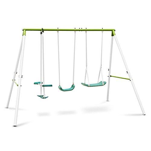OneConcept Olav • Gartenschaukel • Kinderschaukel • Schaukel • max. 120kg • bis 4 Kinder gleichzeitig von 3-8 Jahren • Wippe mit Sitzen und Fußstützen • grün-weiß