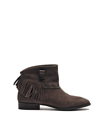 Poi Lei Damen-Schuhe Fransenstiefelette Amy Grau Stiefeletten Flach Veloursleder
