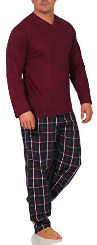 Mahagoni Langer Herren Pyjama Gr. 56/XXL Shirt Bordeaux - Hose Garngefärbtes Karo Bordeaux Schlafanzug