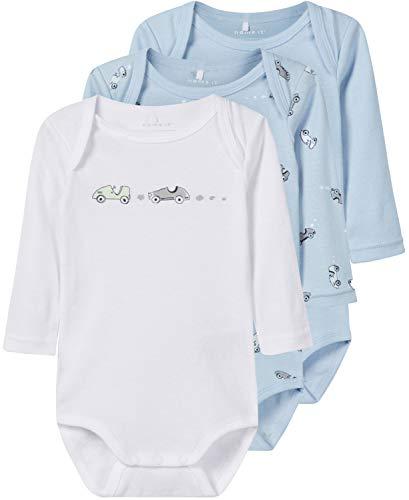 NAME IT Baby-Jungen Strampler NBMBODY 3P LS NOOS, 3er Pack, Mehrfarbig (Blau Cashmere Blue), 98