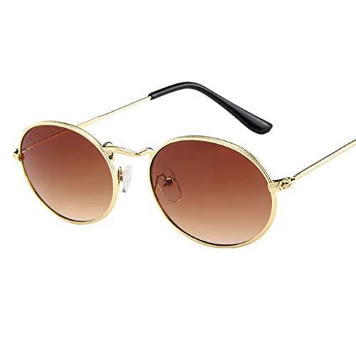 iCerber UV400 Sonnenbrille Vintage Retro Oval Sonnenbrille Ellipse Metallrahmen Brille Trendy Fashion Shades Mode Aviator Spiegel Objektiv Reise Sonnenbrillen Vintage Unisex Brille