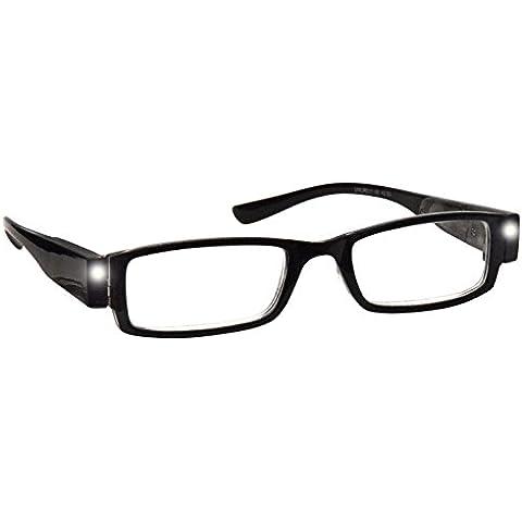 Lettori di Luce LED illuminato notte occhiali da lettura unisex nero UVLR001+ 3.50Eyewear mondo Eye