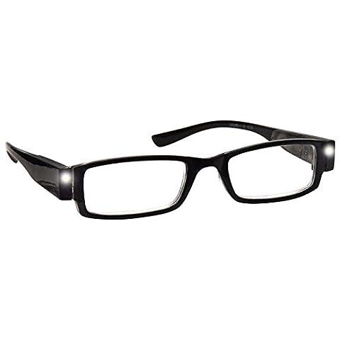 LED Light Readers Illuminated Night Reading Glasses Mens Womens Black UVLR001 +3.50 eyewear world eye wear