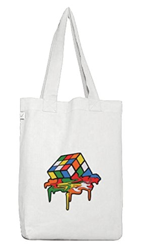 Zauberwürfel Jutebeutel Stoffbeutel Earth Positive mit Magic Cube Melting Motiv White