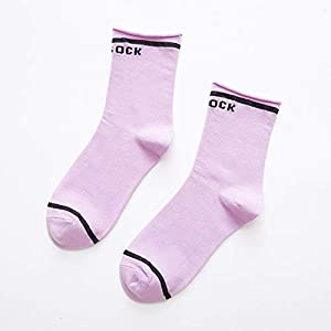 Sanzhileg Hip Hop-Art-mittlere Socken-Frauen-Socken-Breathable Art- und Weisebeiläufige Bequeme volle Baumwollmittelsocken – hellpurpurn
