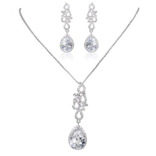 EVER FAITH®di cristallo fede Nozze d'Argento-Tone Teardrop Fiore CZ austriaco orecchini set N01879-1
