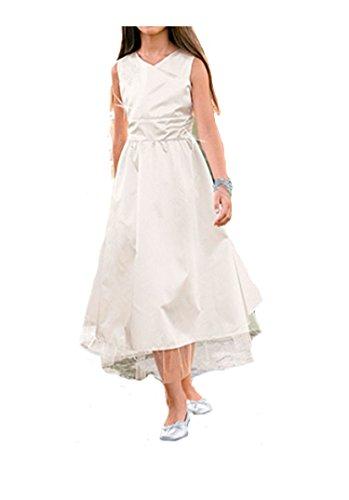Festliches Mädchenkleid aus Satin, mit Organza und Tüll, creme-weiß, Körpergröße in cm:134 cm