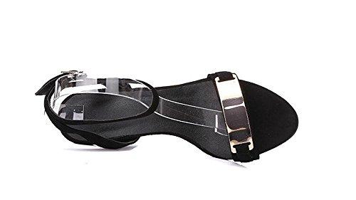 PBXP Open-Toe Frauen Sommer High Heel Sandalen Pumps Knöchelriemen Einfache Sandalen Schwarz Europa Größe 33-39 Black