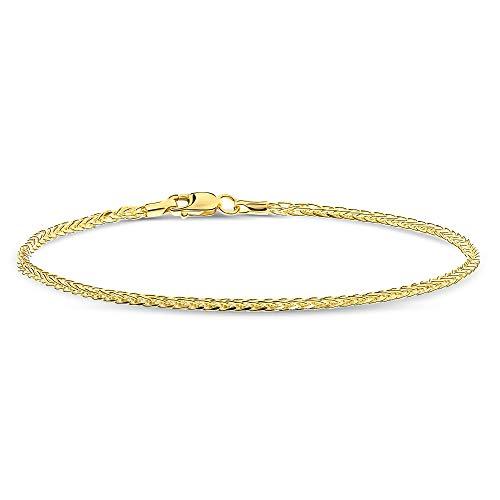 Miore Armband Damen Weizenkette Gelbgold 14 Karat / 585 Gold, Länge 19.5 cm Schmuck