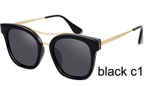 LKVNHP Schild Kleines Gesicht Sonnenbrille Frauen Polarisierte Retro Uv400 Mode Fahren Brille FrauWPGJ108 schwarz