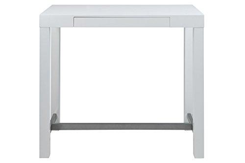 AC Design Furniture 59765 Bartisch Laura, Tischplatte und Gestell aus Holz, weiß lackiert