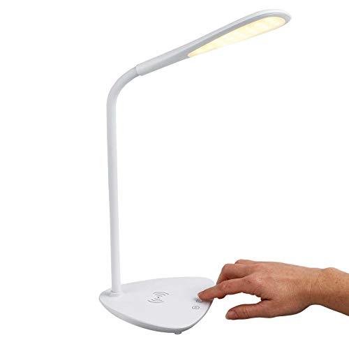 Lámpara de escritorio LED con estación de carga inductiva para smartphone, inalámbrica, color blanco (cargador de inducción, inalámbrico, lámpara de mesita de noche, función táctil, temporizador)