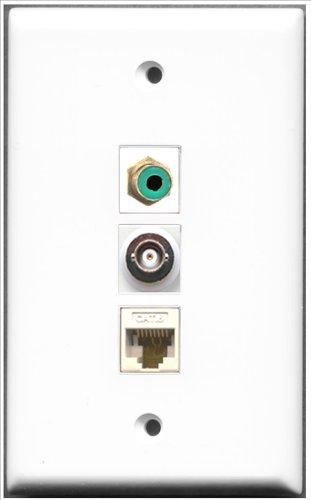 RiteAV-1Port RCA grün und 1Port BNC und 1Port Cat6Ethernet weiß Wall Plate Decora Insert Flush