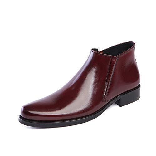 WHL.LL De los hombres Antideslizante Zapatos de negocios Boca elástica Cremallera Botas desnudas Alta ayuda estilo británico Puntiagudo Oficina Zapatos de trabajo,Red,39