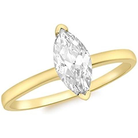 Pietra taglio Marquise in oro giallo 9 kt, con anello