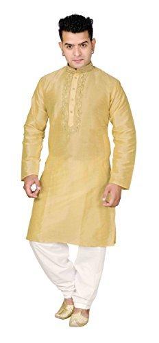 Desi sarees Herren Indian Kurta Shalwar Kameez Vordertasche Bollywood Hochzeit Party Pyjama 827 - Leichte Gold, 40 (L - UK) (Hose Kameez)