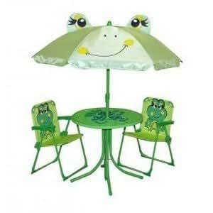 Mobilier De Jardin Grenouille Enfant Avec Parasol Table 2 Chaises Amazonfr Cuisine Maison