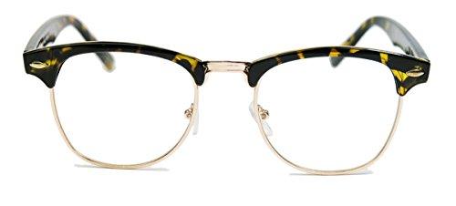50er Jahre Retro Nerd Brille Halbrahmen Hornbrille Clubmaster Stil Rockabilly Streberbrille (Braun /...