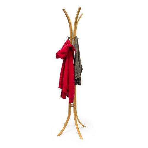 Relaxdays Garderobenständer Holz H x B x T: 175 x 50 x 50 cm Kleiderständer als Standgarderobe aus hochwertigem Bambus mit 4 Armen und Kleiderhaken für Flur und Diele zum Aufhängen von Kleidung, natur (Holz Garderobe Ständer)